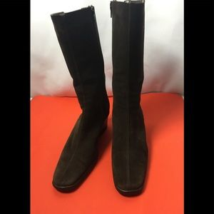 Aquatalia Leather Suede Canvas Wedge Brown Boots